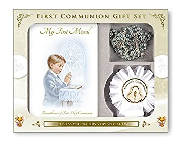 Boys First Holy Communion, Catholic Gift Set - My First Missal Book, Communion Rosary