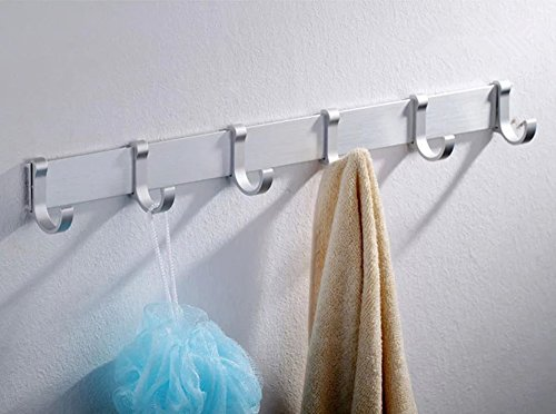 BOEN A2024H6-1 Coat Hook Rack/Rail with 6 Pronged Hooks Wall Mount Solid Aluminum