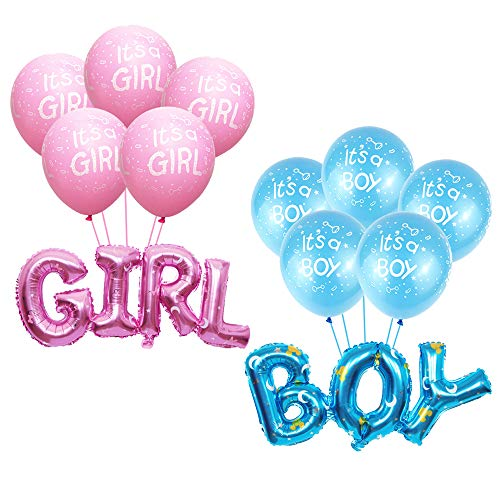 Gender Reveal Balloon/boy or girl Foil Mylar Bolloons with 12