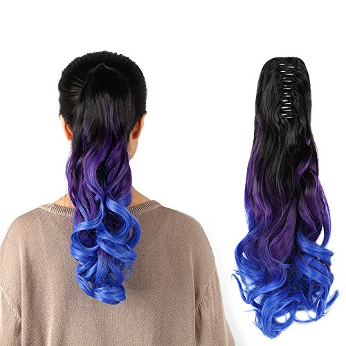 Neverland Beauty 22 Claw on Triple Ombre Three Tone Synthetic Curly Wavy Ponytail Hair Extensions Brown Black to Purple to Blue
