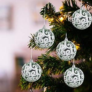 Belle Vous Palline di Natale Trasparenti (Set da 12) - Palle di Natale Plastica da 7,7cm con Vortice Bianco - Palle Natale Plastica Trasparente con Spago per Decorazioni Natale e Addobbi Albero Natale 11 spesavip