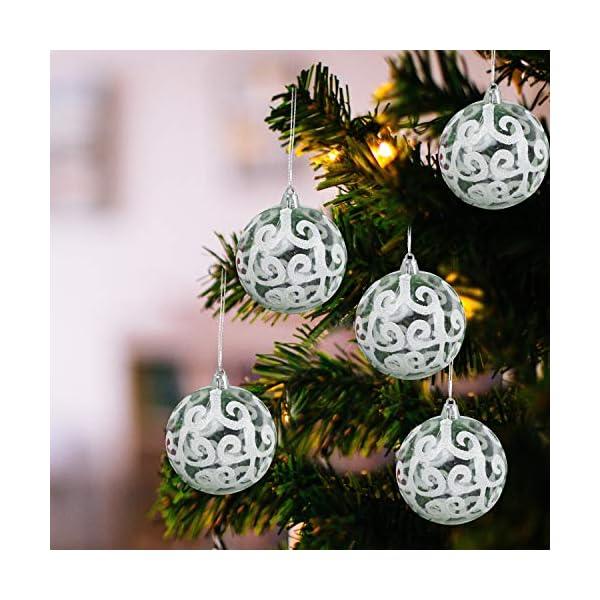 Belle Vous Palline di Natale Trasparenti (Set da 12) - Palle di Natale Plastica da 7,7cm con Vortice Bianco - Palle Natale Plastica Trasparente con Spago per Decorazioni Natale e Addobbi Albero Natale 1 spesavip