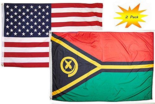 3x5 3'x5' Wholesale Set  USA American & Vanuatu Country