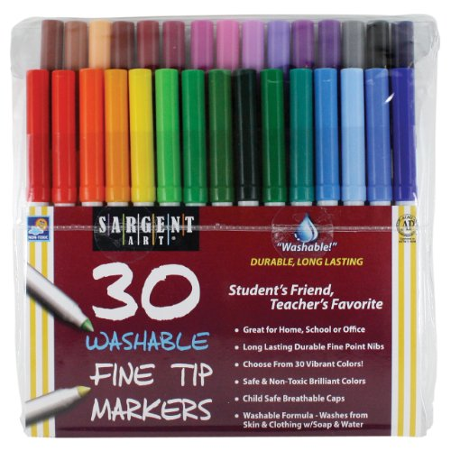 Sargent Art 22-1583 30-Count Washable Fine Tip Marker Pouches (Washable Tip Markers Fine)