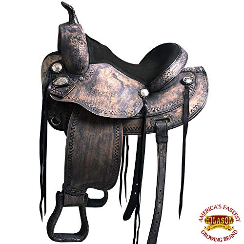 HILASON 16″ Western Horse Saddle American Leather Treeless Trail Pleasure