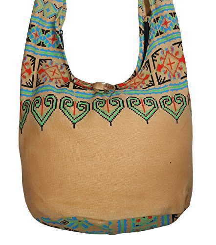 Lovely Creations's Hippie Boho New Elephant Crossbody Bohemian Gypsy Sling Shoulder Bag Small Size (Thai Brown)