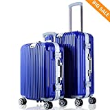 Luggages Sets 2 Piece Travel Bag Hardshell Lightweight Spinner Suitcase Trolley Rolling Suitcase (Blue)