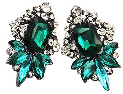 Art Deco Antique Vintage Style Emerald Green Rhinestone Wedding Bridal Prom Earrings