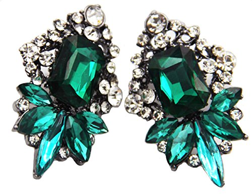 (Art Deco Antique Vintage Style Emerald Green Rhinestone Wedding Bridal Prom Earrings)