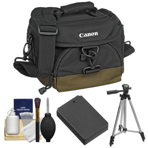 Canon 100EG Digital SLR Camera Case with LP-E12 Battery + Tripod + Accessory Kit for EOS Rebel SL1 by Canon