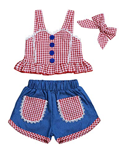Little Girls Summer Outfit Holiday Floral Mini Dress Tops Shorts Clothing Set (Red, 5-6 T)