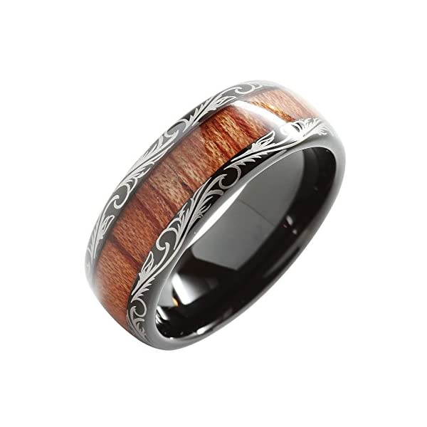 100S JEWELRY Tungsten Rings for Men Wedding Band Koa Wood Inlaid Dome Edge Comfort Fit Size 6-16 - 51 2Bt0kNA8hL - 100S JEWELRY Tungsten Rings for Men Wedding Band Koa Wood Inlaid Dome Edge Comfort Fit Size 6-16