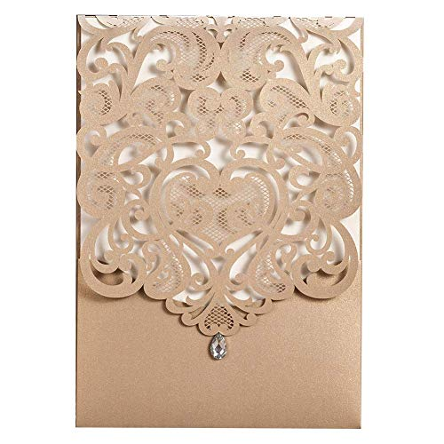 WISHMADE 50 Gold Laser Cut Heart Design Wedding Invites, Printable Rhinestone Birthday Invitations Kit Card Stock, for Engagement Quincenera Dinner Party with Envelope