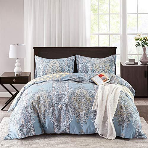 (Villa Feel 1000TC Egyptian Cotton Paisley Print Luxury Duvet Cover- Reversible Damask Medallion Percale Comforter Set-3pcs Bed Linen Quilt Cover-Cotton Soft Breathable Bedding(King,Light Blue Floral))