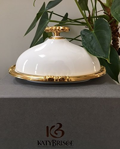 Katy Briscoe Covered Butter Dish Bangles Collection 24k Gold Made in USA -