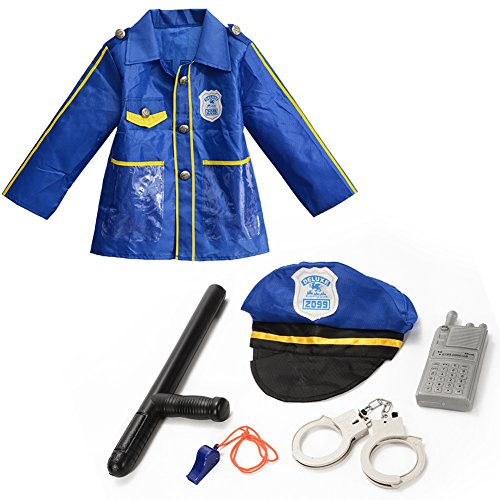 FunsLane Police Officer Costume Set Kids Career Role Play Costume and Accessories Toy Set for Kids Dress up Pretend Play Christmas Gift Birthday Present, 6 Pcs Kids Career Dress