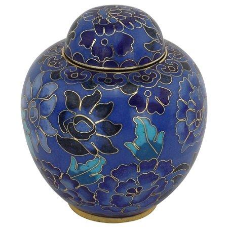 Silverlight Urns Azure Blue Cloisonne Keepsake Urn, Blue Metal Urn for Ashes, Mini Urn, Small Urn 3 Inches Tall