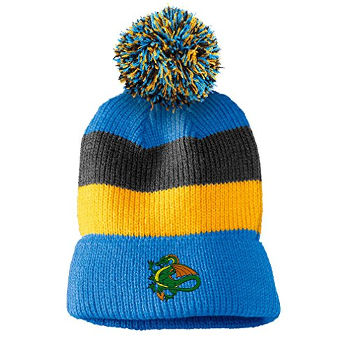 Dragon Striped Beanie - Dragon Sports Mascot Embroidered Unisex Adult Acrylic Vintage Striped Removable Pom Pom Beanie Winter Hat - Blue/Black/Yellow Stripes, One Size