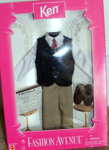 Tan Pinstriped - Ken Career / Office Outfit, Vest, White Shirt & Tie, Tan Slacks, Brown Loafers - Barbies Friend