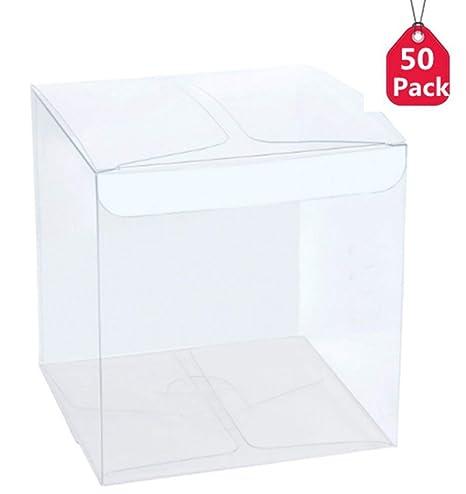 Paquete de 100 cajas transparentes para dulces, caja de regalo de Navidad, boda,
