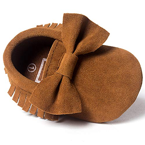 LIVEBOX Infant Baby Girls and Boys Premium Soft Sole Moccasins Tassels Prewalker Anti-Slip Toddler Shoes (S: 0~6 Months, Bow-Coffee)
