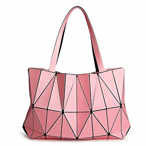 Las mujeres triángulo mate láser Tote hembra bolsa bolso de hombro acolchada geometría diamante rosa bolsas pink