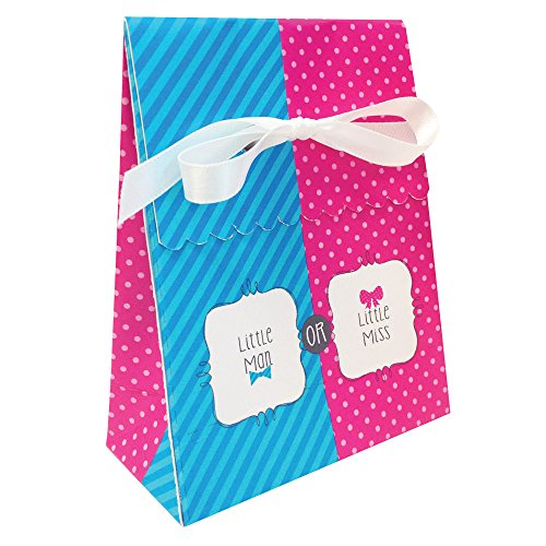 Bow or Bowtie? Favor Bag (12) with Ribbon Little Man or Miss Gender Reveal Shower ()