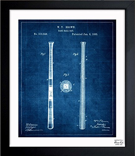 Vintage Baseball Art ('Baseball Bat 1885 - TOM' Vintage Framed Wall Art Print for Home decor & Office. The Sports Wall Decor Blueprint Collection by The Oliver Gal Artist Co. Hand Framed and Ready to Hang. 15x18 inch)