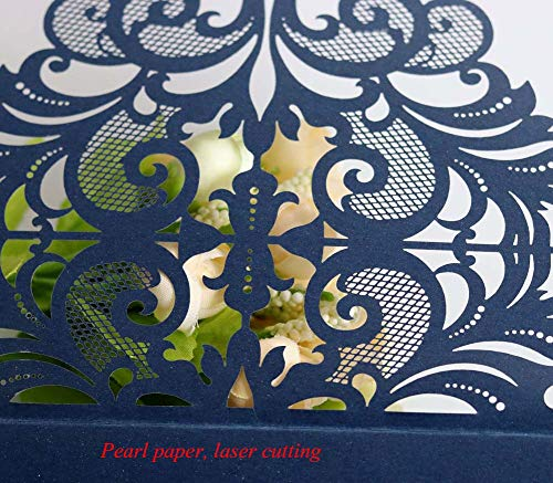 Laser Cut Wedding Invitation Card Custom Personalized Printing and Blank Page Envelope 5.9×5.9In 100Pcs by JXS-Wedding (Image #3)