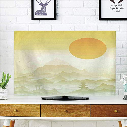 yuqiang LCD TV dust Cover Strong Durability,Asian Decor,Japanese Landscape Illustration with Sun Mountains and Arch Scenery Silhouette Art,Green Orange,Picture Print Design Compatible 42