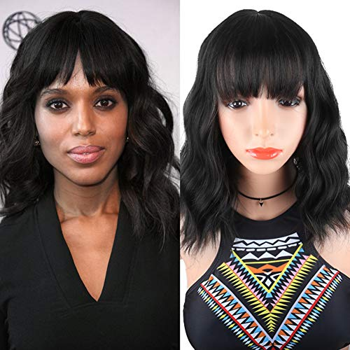 SCENTW Fashion Short Wavy Wigs With Flat Bangs Natural Black Synthetic Full Wigs For Women None Lace Wigs That Look Real Heat Resistant +Free Wig Cap (Black)