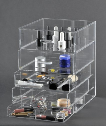 Acrylic Cosmetic Cube Organizer Makeup Case 5-Drawers (A5) by AMERICAN ACRYLIC DISPLAY INC.