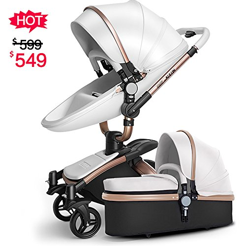 SpringBuds Infant Newborn Pram Baby Stroller Shock-Resistant Luxury Baby Bassinet Toddler Seat Combo-White