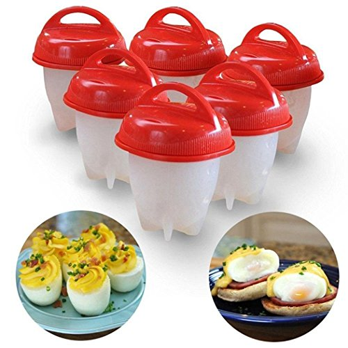Meflying Non-stick Silicone Egg Boiler, Egg Cooker Hard & Soft Boiled Maker, Boiled Eggs without the Shell (1 PCS OR 6 PCS) (1 Pcs)