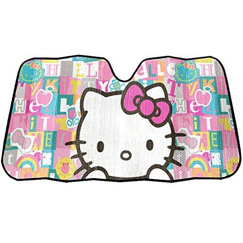 Hello Kitty Car Sunshade - Hello Kitty Sanrio with Pink Bow Tile Auto Car Truck SUV Vehicle Universal-fit Front Windshield Sunshade - Accordion Sun Shade