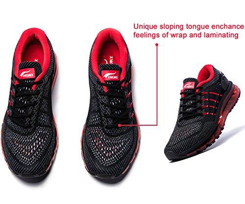 Onemix Air Zapatos para Correr en Montaña y Asfalto Aire Libre y Deportes Zapatillas de Running Padel para Hombre Negro / rojo