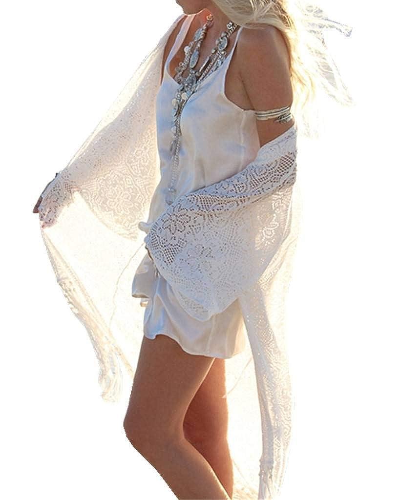 ERGEOB Damen Spitze Lange Strickjacke Sonneschutzkleidung Strand Bikini Urlaub Hängerkleid