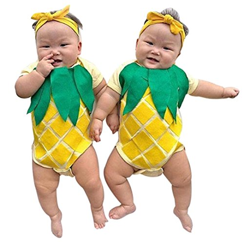 [Misaky Newborn Baby Boy Girl Pineapple Romper Jumpsuit Outfits (70CM(Age:6M), Yellow)] (Boo Baby Costume)