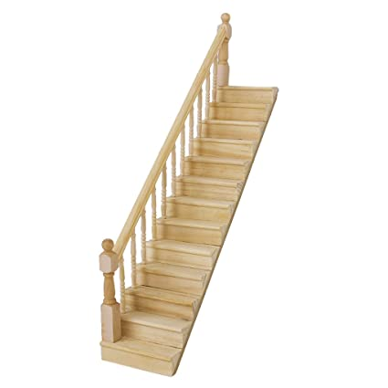 Lowpricenice 1:12 Dollhouse Pre-Assembled Staircase Wooden Stair Stringer  Step with Left Handrail