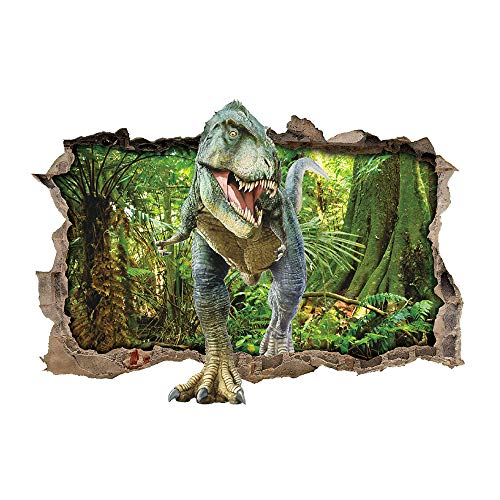 Stickers Dinosaur Little - ufengke Dinosaur Forest Wall Stickers 3D Smashed Wall Decals Art Decor for Boys Kids Bedroom Nursery DIY