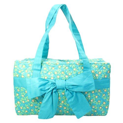 Small Rectangular Handbag, Fully Plastic-Lined, Two Interior Pockets, Aqua Cotton Fabric 2 Interior Pockets