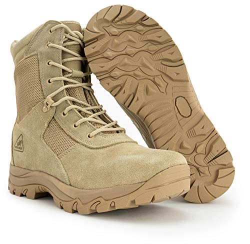 Ryno Gear Tactical Combat Boots with CoolMax Lining (Beige) (8, 7)