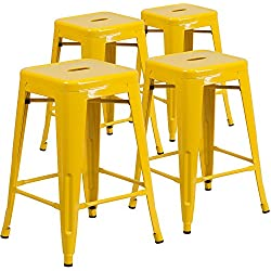 Flash Furniture 4 Pk. 24'' High Backless Yellow Metal Indoor-Outdoor Counter Height Stool with Square Seat