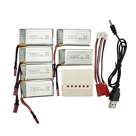 Ocamo Batería de Litio de 6PCS,3.7V 850mah con el Cargador 6-in-1 ...
