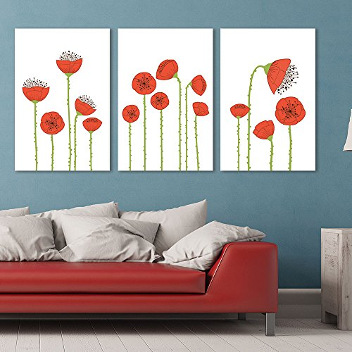 3 Panel Hand Drawing Style Red Poppy Flowers Gallery x 3 Panels