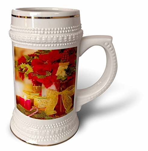 - Doreen Erhardt Christmas Collection - Christmas Poinsettia Bouquet and Candy Cane Photograph - 22oz Stein Mug