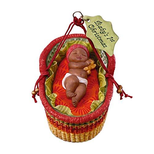 Hallmark Keepsake Ornament 2018 Year Dated, African American Babys First Christmas, Porcelain, Basket