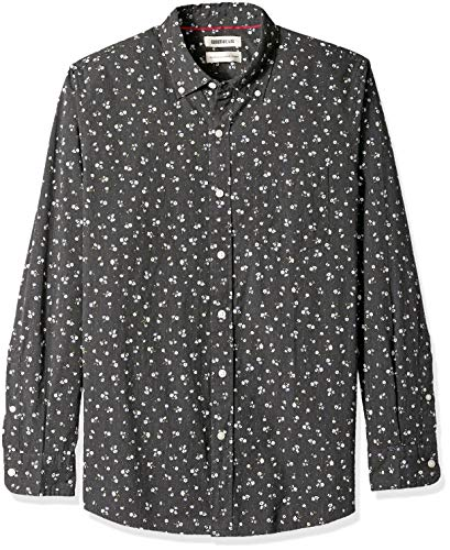 Goodthreads Men's Standard-Fit Long-Sleeve Printed Poplin Shirt, Black Heather Small Floral, Large
