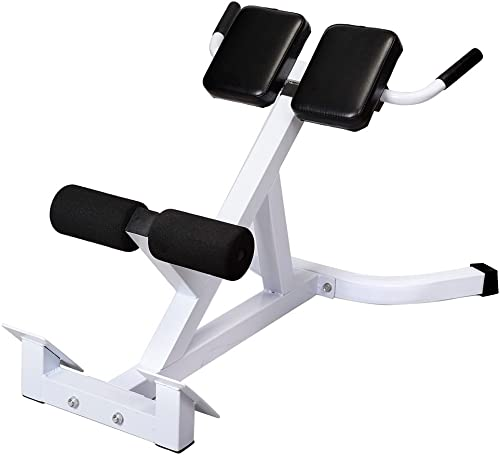 Goujxcy Roman Chair N-027 Back Hyperextension Bench Roman Chair Adjustable 45 Degree AB Back Abdominal Exercise Machine,White Black