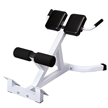 Hyperextension Bench Adjustable 45 Degree AB Back Bench Exercise Abdominal  Roman Chair White U0026 Black